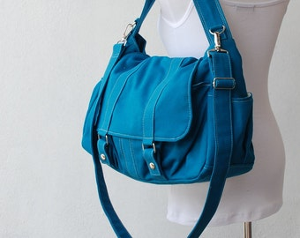 SALE - 30% - Messenger Bag, Pico2 in Teal, School Bag, Shoulder Bag, Women Bag, Canvas School bag, Gift for Her,  College Bag