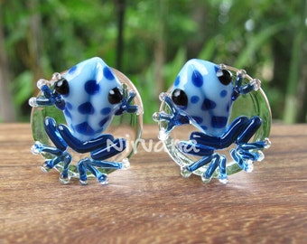 "Sky Blue Frogs with Cobalt Spots Glass Plugs 1 PR  00g 7/16"" 1/2"" 9/16"" 5/8"" 3/4"" 1"" 9.5 mm 10 mm 12 mm 14 mm 16 mm 18 mm 20 mm 22 mm 25 mm"