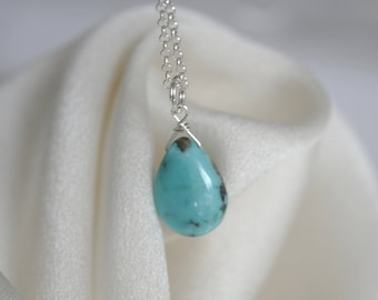 Genuine turquoise Sleeping Beauty pendant with necklace genuine turquoise sleeping pendant chain silver or gold plated