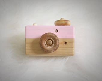 Wood Toy Camera - Wooden Baby Camera - Wooden Toys - Natural Solid Wood  - Purple, Pink, White, Blue