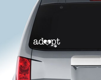 Adopt Pet Adoption Vinyl Decal for Car Window