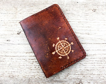 Leather Passport Cover Personalized, Compass, Genuine Leather Nautical Travel Gift Passport Holder, Wanderlust