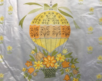 Vintage Bohemian Shower Curtain with Hot Air Balloons. Boho Best.