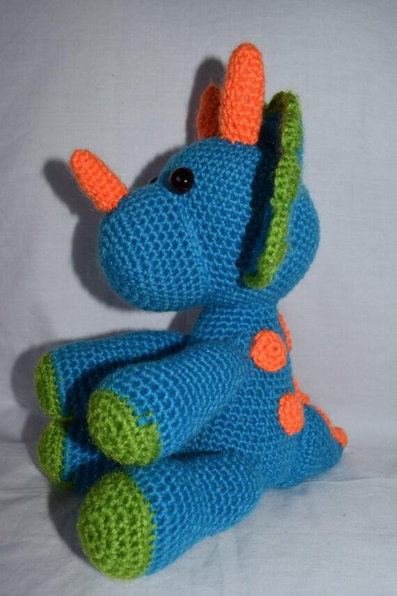 Häkeln, Dinosaurier, Triceratops, Häkeln Spielzeug, Geschenk, Geschenk, Dinosaurier, Baby-Dusche, junge, Mädchen, Dino, Kinderzimmer