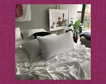 Magenta Pair of Linen Pillowcases - Minimalist Bedding - Made to Order in the USA
