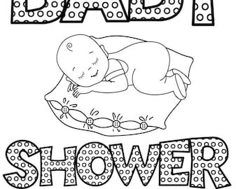 Alphabet ABC Baby Shower Coloring Book, Custom Coloring pages, Personalized, Printables,