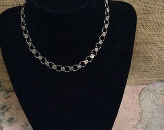 Silver Flower Chain with Blue Beads