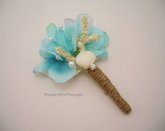 Beach Wedding Boutonniere, Sea Shell Groomsmen Lapel Pin
