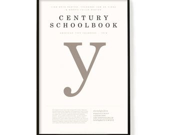 """Century Schoolbook Poster, Screen Printed, Archival Quality, Wall Art, Poster, Designer Gift, Typography Print, 24"""" x 36"""""""