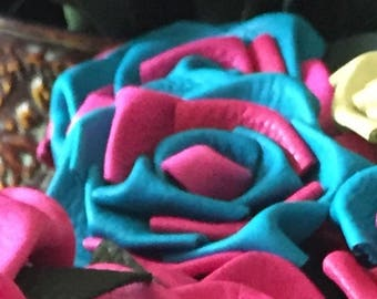 Teal and Pink leather rose