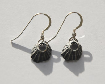 Tiny Marazion Oxidised Limpet Drop Earrings