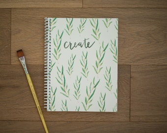 Spiral notebook - sketchbook - blank pages - notes - pretty notebook