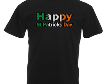 Happy St Patricks Day Adults Mens Black T Shirt Sizes From Small - 3XL