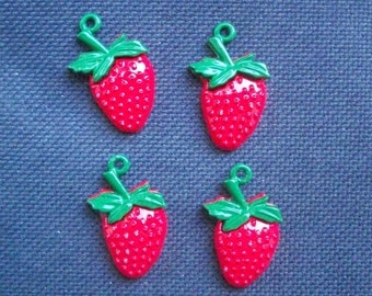 4 Painted Metal Strawberry Charms 26mm