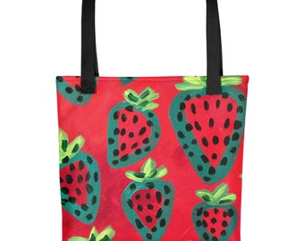Funky Strawberry Tote bag