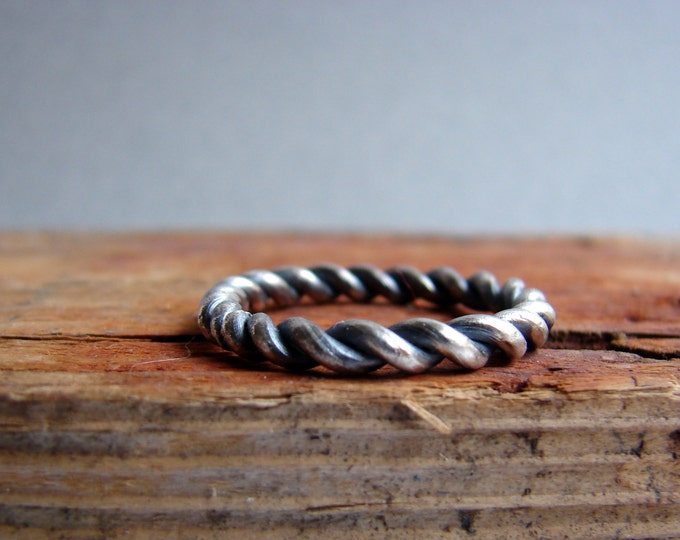 Twisted Sterling Silver Ring Men' s Ring Gifts for dad