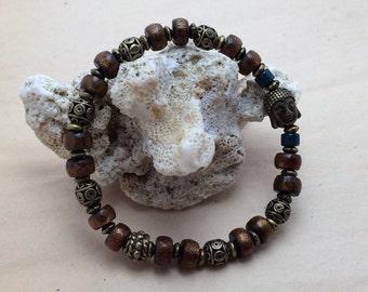7985- Yoga Bracelet, pearl of Bali, pearl coral, Bouddha