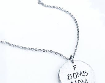Funny Mom Necklace, Gift for Mom, Cool Mom Gift, Mom Squad, F Bomb Mom, Mom Jewelry, Funny Gifts, Adult Humor Gifts