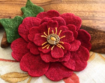 Christmas Felt Flower, Red Flower Brooch,  Flower Corsage,  Felt Poinsettia-like Flower Jewelry,  Fashion Pin Accessory, Wedding Boutonnière