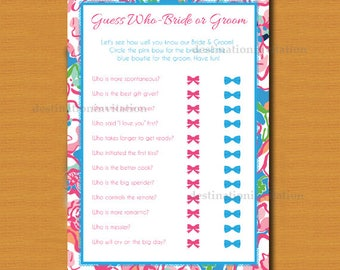 Guess Who Bride or Groom Game, Instant download, Bridal Shower Game, Lilly Pulitzer