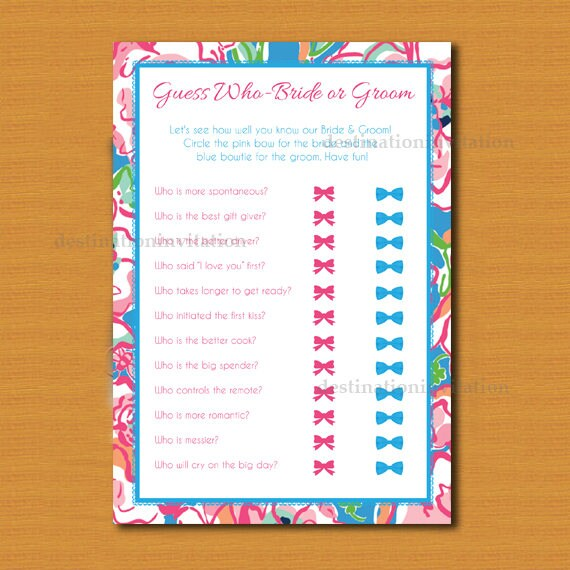 Guess Who Bride Or Groom Game Instant Download Bridal Shower