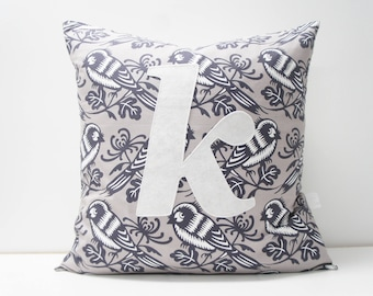 Pillow Cover - Monogrammed Pillow cover, 20x20, grey birds, any letter available, made to order