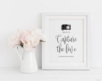 Custom Wedding Hashtag Sign, Personalized 8x10 digital sign, Printable Wedding Instagram sign, Social Media Sign, Custom Hashtag Sign