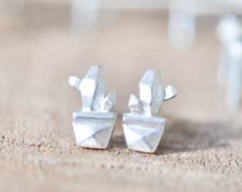Origami Cactus Plant Earrings, Cactus Stud Earrings, Sterling Silver Cactus Jewelry, Nature Jewelry, Plant Jewelry, Jamber Jewels