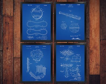 Baseball blueprint etsy baseball patent blueprint set of 4 baseball gifts baseball baseball bat baseball malvernweather Image collections