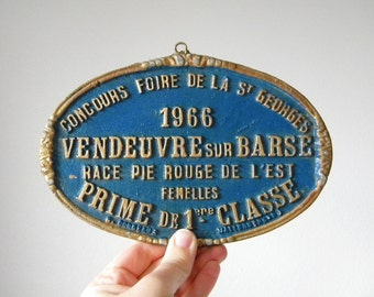 vintage french award plaque cattle metal plaque 1966