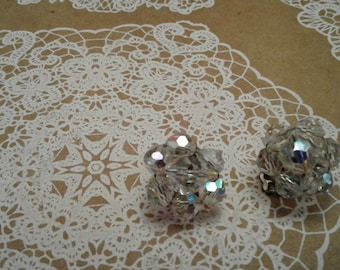 Aurora Borealis Crystal Cluster Clip On Earrings