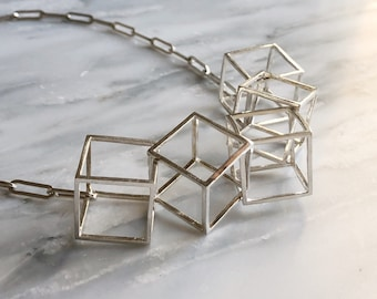 Cubed Statement Necklace, Cube Statement Necklace, Unique Wedding Day Necklace, 3D Cube Necklace, Geometric Necklace, Modern Necklace