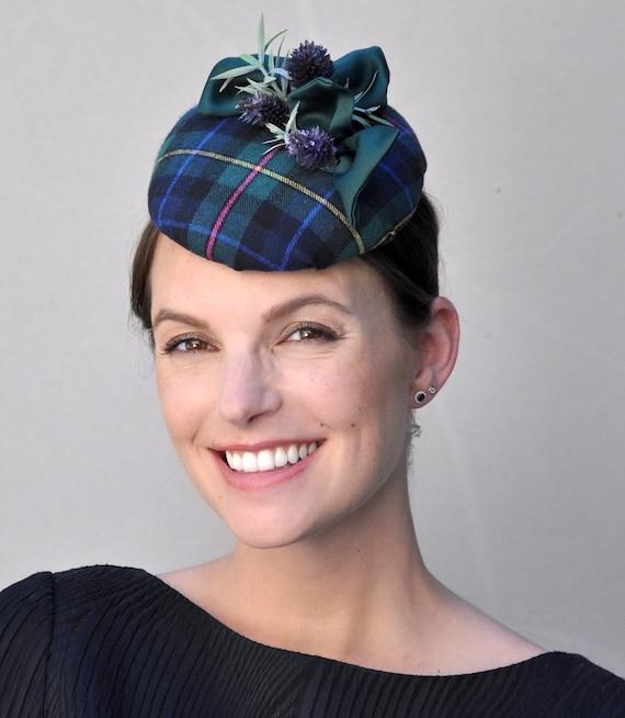 Scottish Plaid Fascinator Hat, Ladies Tartan Hat, Women's Scottish Hat, Tartan Percher, Plaid Fascinator