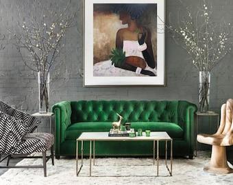 """figure abstraite XL Dame, ananas art original à l'huile de toile peinture 31 """"x 35» moderne figure féminine abstraite, rose toile murale art, rose or"""