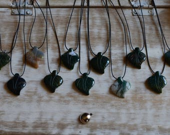 Stone Leaf Pendant Necklaces