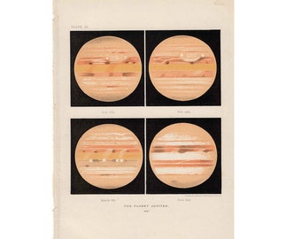 1900 PLANET JUPITER LITHOGRAPH - original antique celestial astronomy print