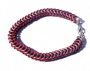Chainmaille Bracelet, Box Chain Chainmail Jewelry, Red and Silver Anodized Aluminum Jump Rings
