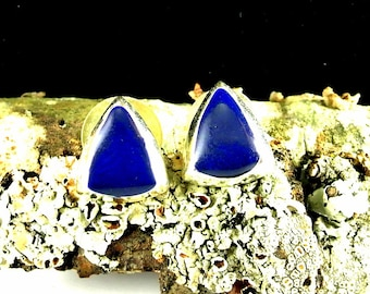 Navy Blue and Silver Tone Stud Earrings Vintage 70 Earrings Navy Enamel Earrings Navy Silver Tone Studs Navy Earrings