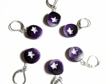 Purple Starry Night Stitch Markers. Universal for knitting and crochet. Ready to ship