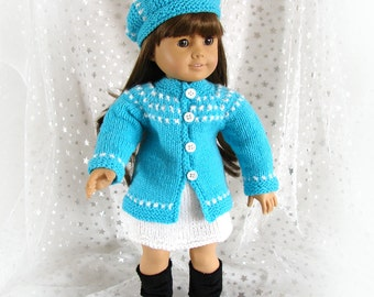 Doll Sweater Skirt and Hat Aqua and White Doll Knit Ensemble American Girl Doll Sweater Skirt and Hat 18 inch Doll Sweater AG Doll Sweater