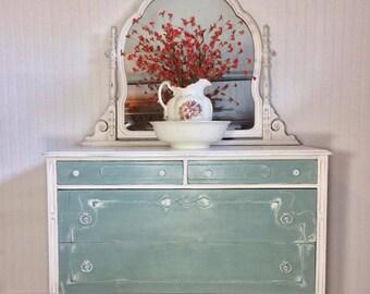 SOLD***Vintage Hand Painted Duck Egg/White Dresser, Mirrored Dresser, 5 Drawer Dresser, Shabby Chic Dresser, Antique Dresser, refinished