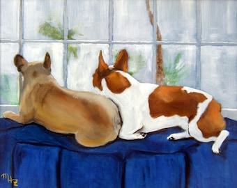 "French Bulldog Art Print of an original oil painting/ ""Couch Potatoes"" / 11"" x 14"" / dog art"