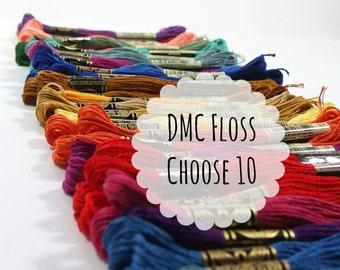 DMC Embroidery Floss, Choose 10 - Cotton Thread - Cross Stitch Thread - Needlework - Hand Stitching