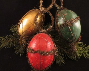 Three Larger Antique Victorian Tinsel Wire-wrapped and Paper Mache Candy Container Ornaments