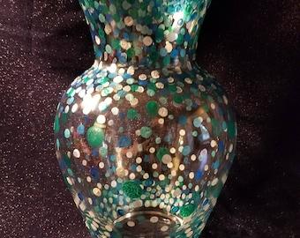 Large Blue & Silver Dotted Vase