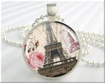 Eiffel Tower Pendant Paris Art Jewelry France Travel Gift Vacation Necklace Resin Charm Round Silver Gift Under 20 (010RS)