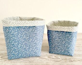 Blue and Cream Floral Fabric Storage Bins, Fabric Baskets, Bathroom Storage, Make Up Storage, Toiletries Storage Bins, Bedroom Storage Bins