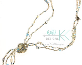 Necklace - Blue and Clear 2 strand knotted