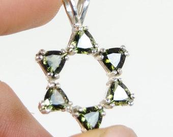 Faceted Star of David Moldavite Pendant (Czech Republic, #9392) 3.4 grams