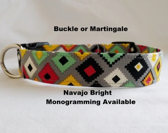Navajo Bright-Southwest Aztec- Buckle or Martingale Dog Collar-Large Breed Dog-  1- 1.5 -2 inch width Red-Black-Yellow-Orange-Grey